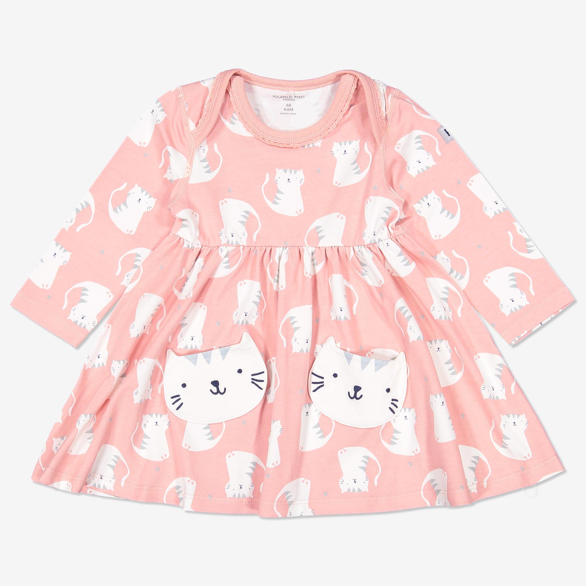 Klänning med kattryck nyfödd rosa  67a77ee75141e