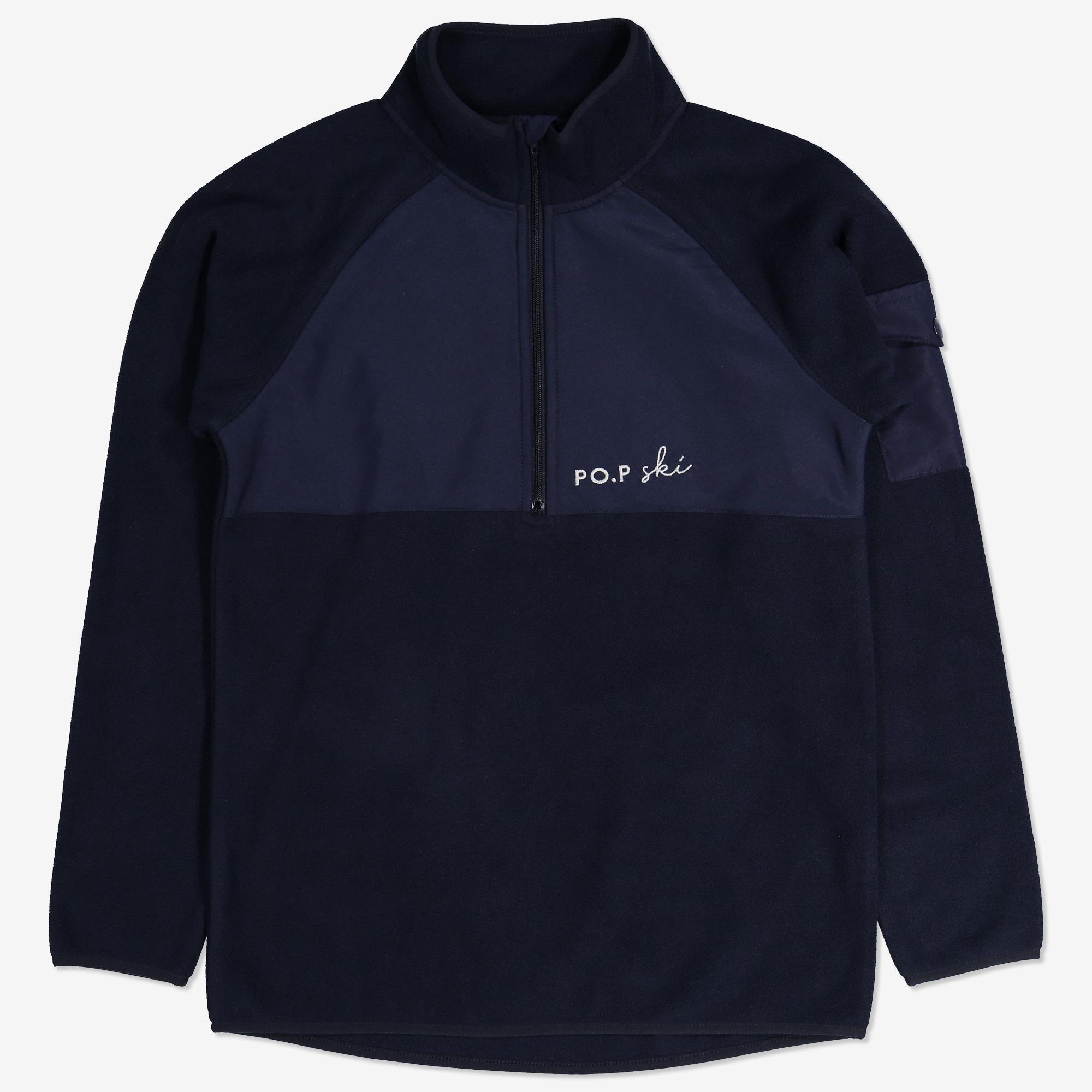 Fleecetröja med kort dragkedja mörk marinblå 97835db046362