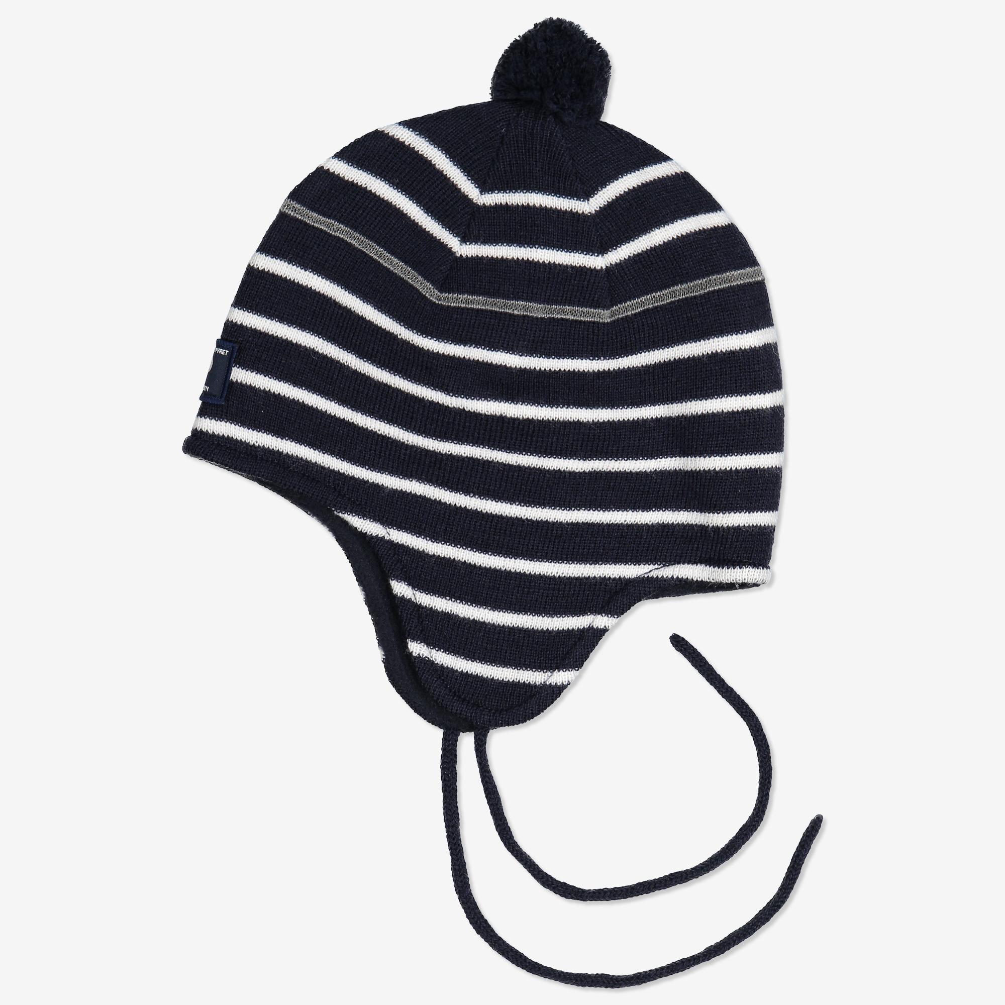 Randig ullmössa baby mörk marinblå