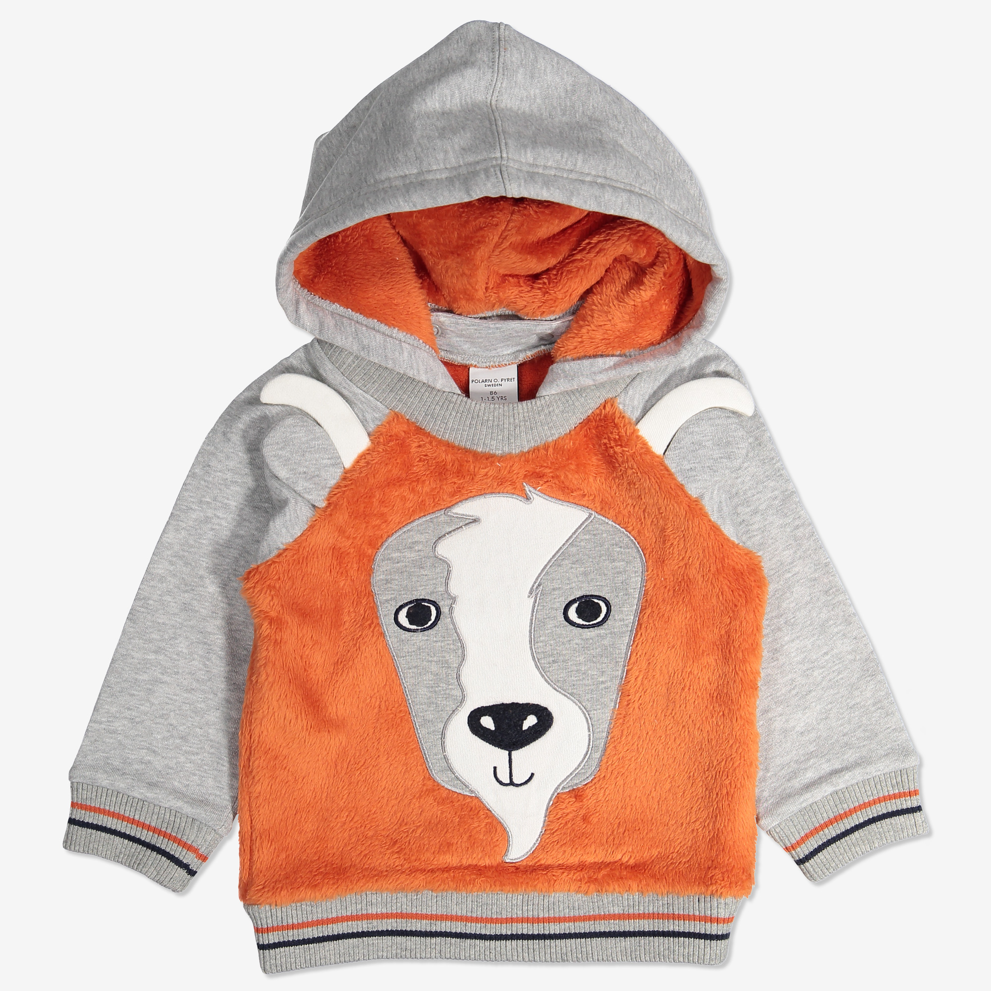 Hoodie med applikation baby orange