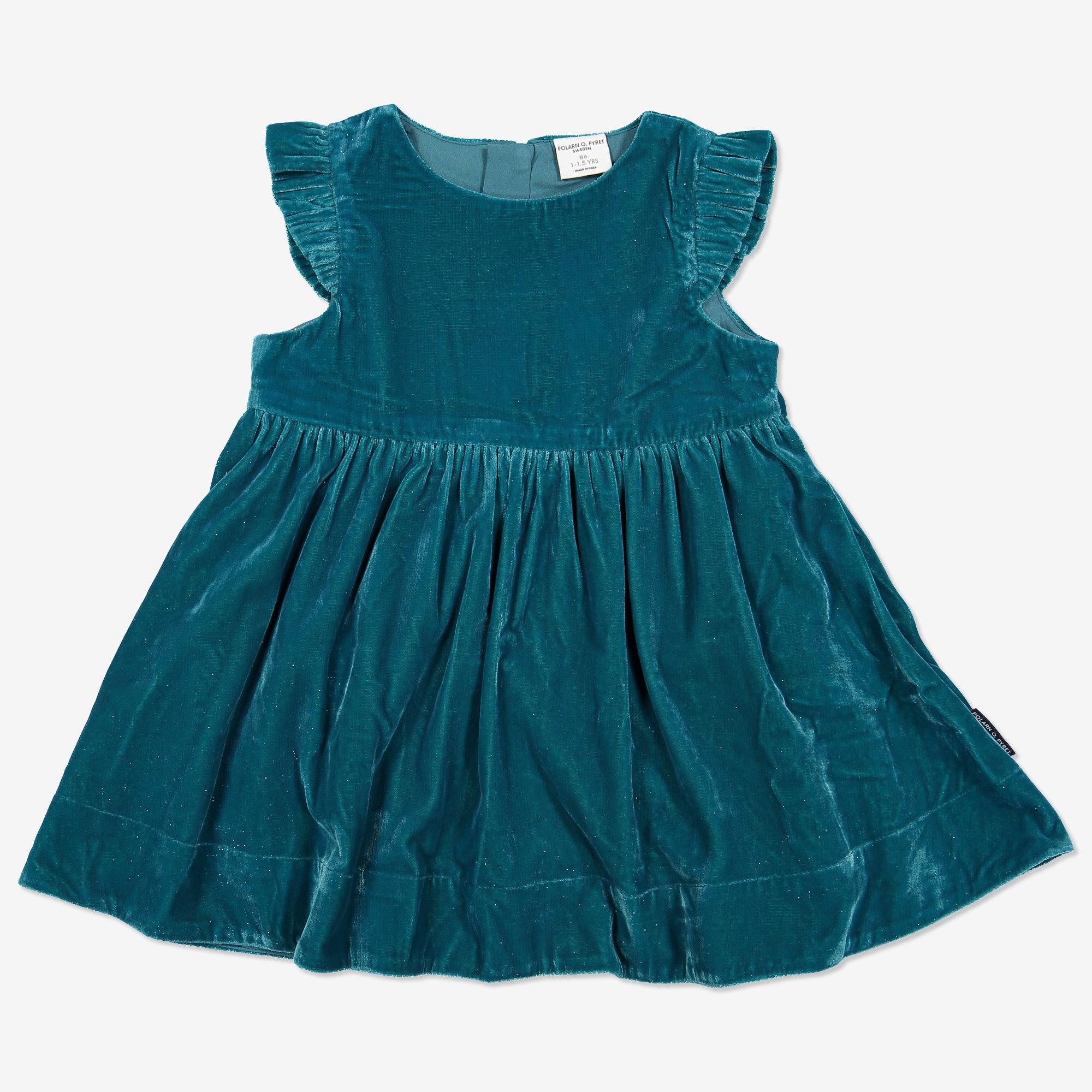 Sammetsklänning med glitter baby turkos af3d0f313cd04