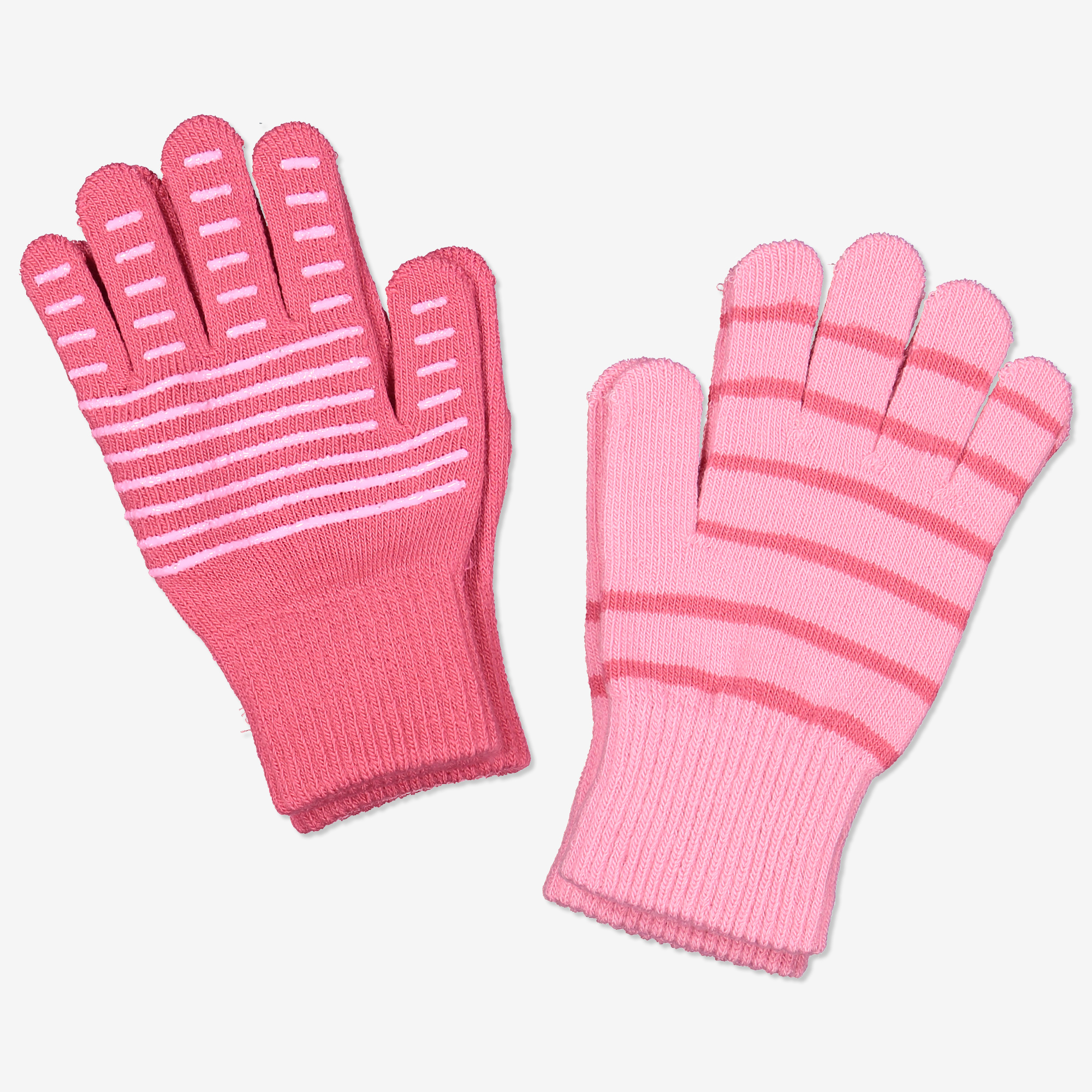 Stickade fingervantar 2-pack rosa