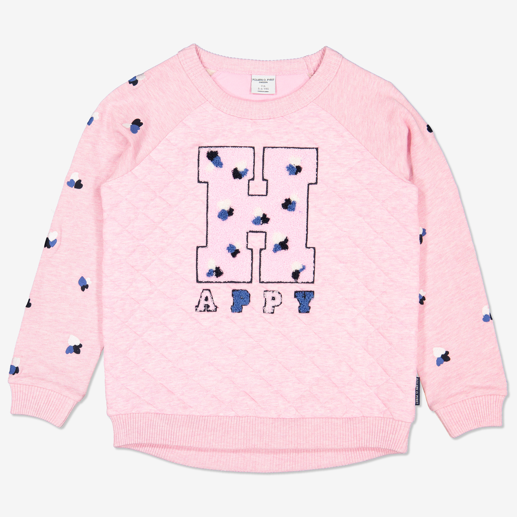 Sweatshirt med frottéapplikation rosa