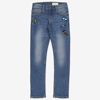 Jeans slim med applikation denim