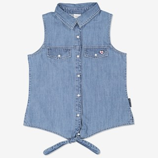 Knytblus ljus denim