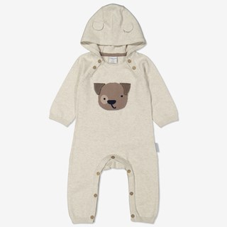 Stickad overall baby beige