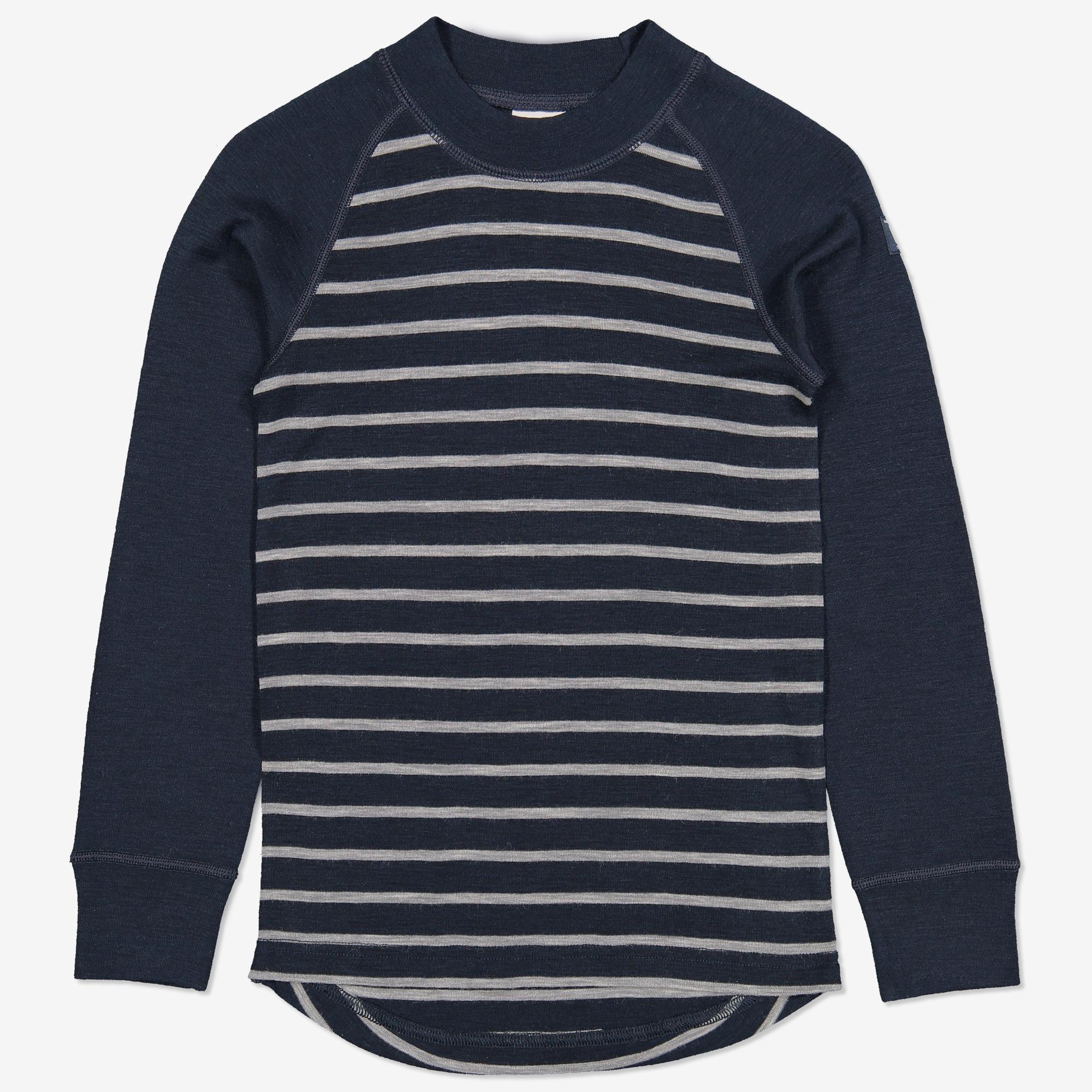 Merinoull randig tröja mörk marinblå