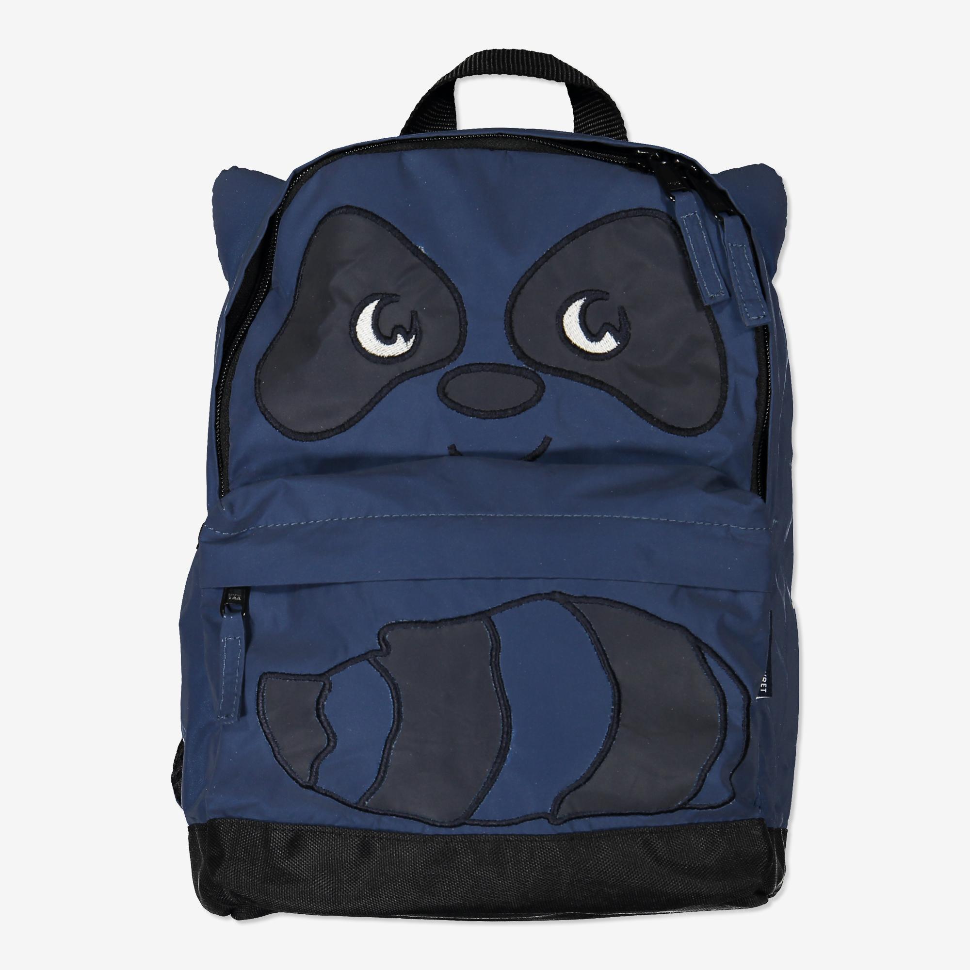 Ryggsäck med tvättbjörns-applikation blå